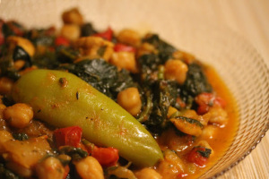 Central African Republic and spinach stew
