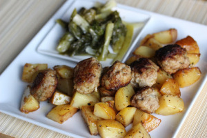 Greece and Greek meatball with potatoes and Horta Vrasta