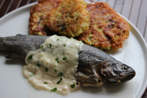 Luxembourg and Trout with Riesling sauce and Gromperekichelcher