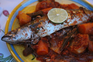 Senegal and bluefish with thiebou jen