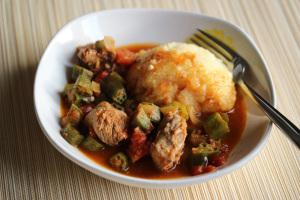 Zambia and Nshima with Tomato Gravy & Okra
