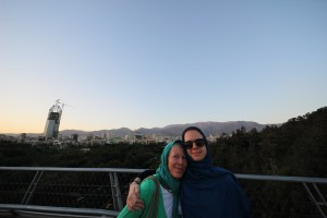 With my mom on the bridge