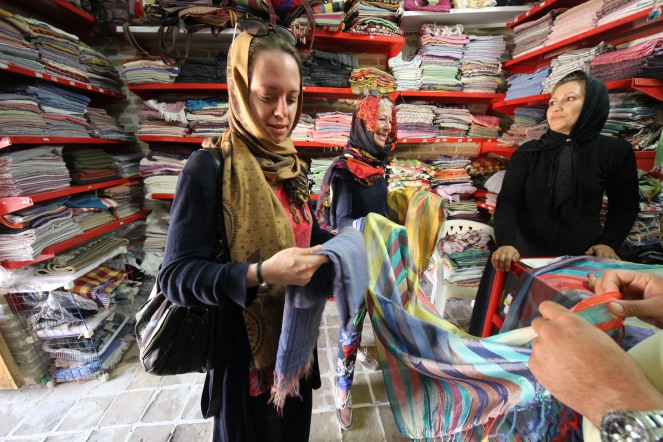 scarves in a bazaar