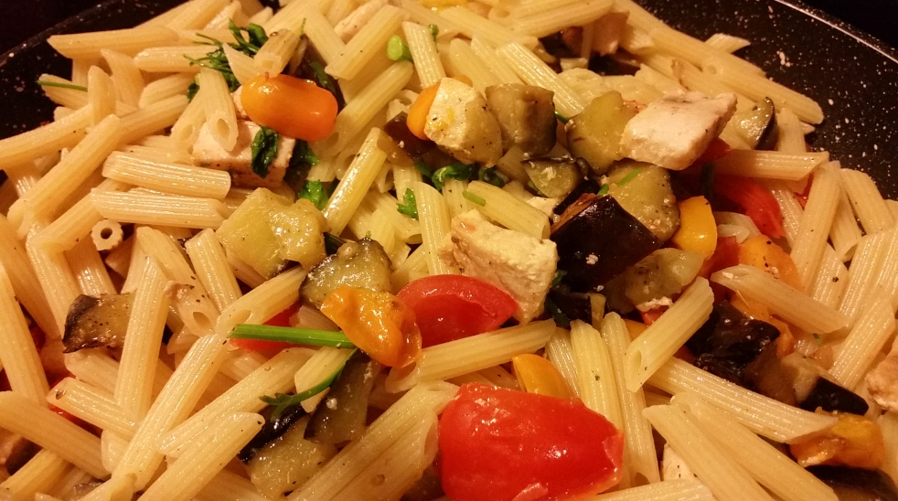 Penne with Sword Fish, Aubergines and Cherry Tomatoes